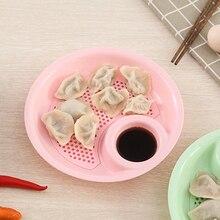 Fashion Double plate Home Dumpling Dish Kitchen Plate Straw Boiled Dumplings  14.7*3.5cm