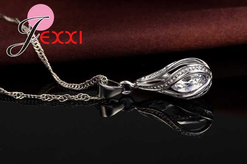 Neue Wasser Tropfen CZ Schmuck Sets 925 Sterling Silber Halskette & Ohrringe Hochzeit Schmuck Für Frauen Hochzeit Partei Zirkon Sets