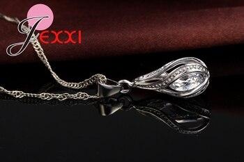 New Water Drop CZ Jewelry Sets 925 Sterling Silver Necklace&Earrings Wedding Jewelry For Women Wedding Party  Zircon Sets 2