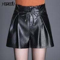 #6305 2018 PU shorts feminino Fashion Booty shorts Wide leg Loose High waist Korean Pleated Casual leather shorts Sexy