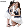Weoneit 2017 Summer Family Matching Mother Daughter Dresses Clothes Printed Mom and Daughter Dress Kids Parent Child Outfits
