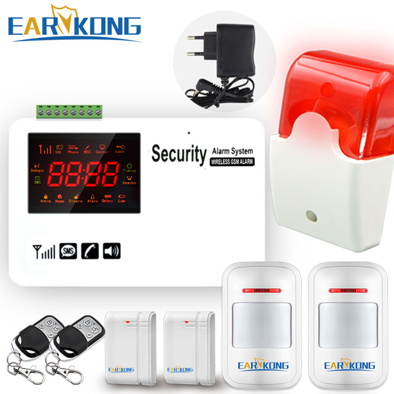 Gsm alarm system security home Support SIM Card wireless 433MHz open door detector motion sensor doorbell smart house burglar