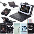"Universal PU Leather Stand Case Cover with USB Keyboard +Pen for 10.1"" LG G Pad 10.1 V700/LTE Verizon VK700 Android Tablet"
