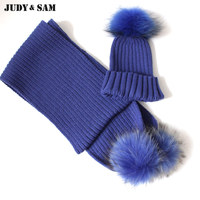 Factory Sale Adult Winter Crochet Wool Blend Hat Match Scarf With Match Real Fur Pompom Set