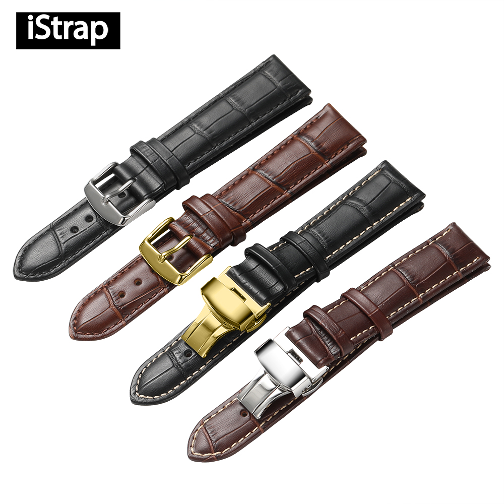 iStrap 18mm 19mm 20mm 21mm 22mm 24mm Black Watch Strap Genuine Leather Bracelet Brown Watch Band for Tissot Hours Watchband eache 20mm 22mm 24mm 26mm genuine leather watch band crazy horse leather strap for p watch hand made with black buckles
