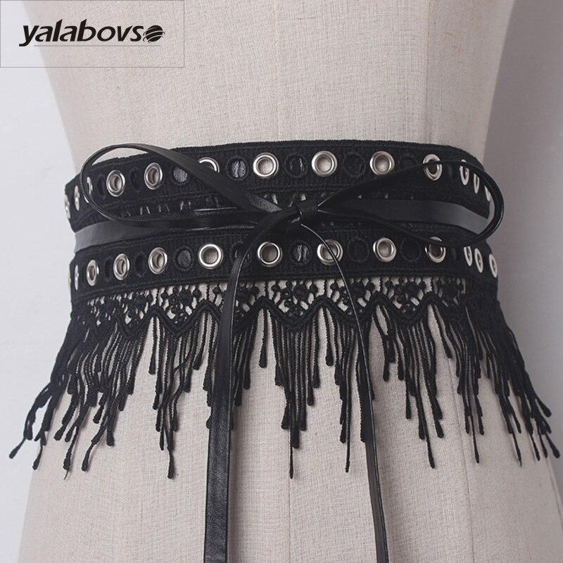 Yalabovso 2017 Novelty Black White Color Belt Fashion Irregular PU Lace Patchwork Sealing Belt For Woman Slim Waist Y002 Z20