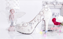 bride pearl rhinestone wedding shoes sexy pumps 10cm high heels free shipping