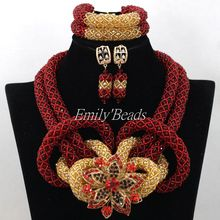 Wine African Beads Jewelry Set Gold Nigerian Wedding Costume Crystal Bridal Jewelry Set Burgundy Beads Set Free Shipping AIJ734