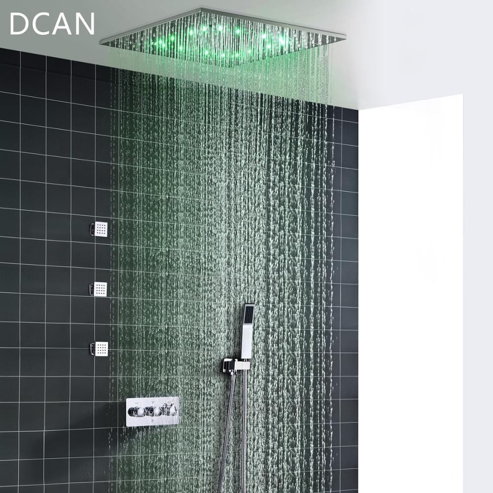 DCAN Wholesale SPA 500x500mm 20 Inch 3 Way Hot Cold Mixer Rain Shower Set LED Lamp