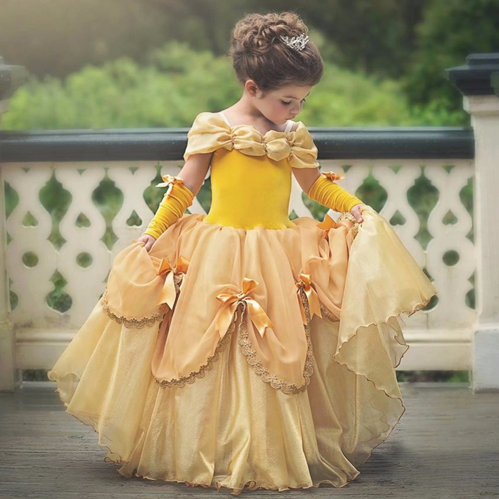 Girls Princess Belle Dress up Costume Kids Yellow Party Dress Ball Gown long dresses Beauty and Beast Cosplay Free oversleeves girls beauty and the beast cosplay ball grown kids party halloween fancy dress up outfits girls tutu full length sparkle dress