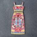 Envío gratis 2016 Vintage Spaghetti Straps Beads Patttern mujeres Tops y faldas milán pista de verano estilo Vestidos 50512