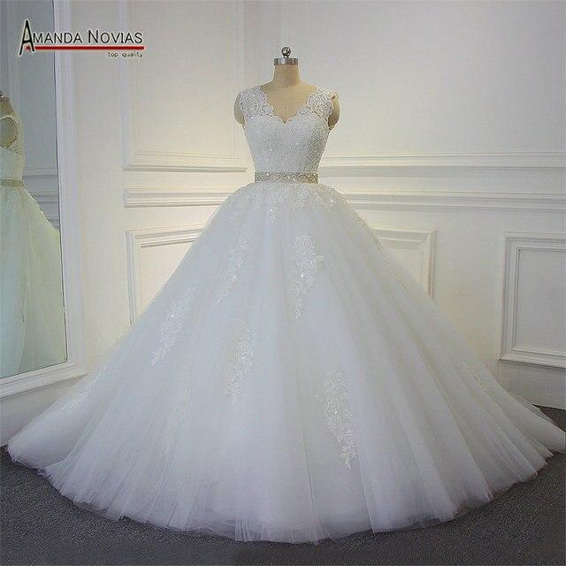Impresionante vestido de novia de alta calidad 2019 Amanda Novias 100% fotos actuales