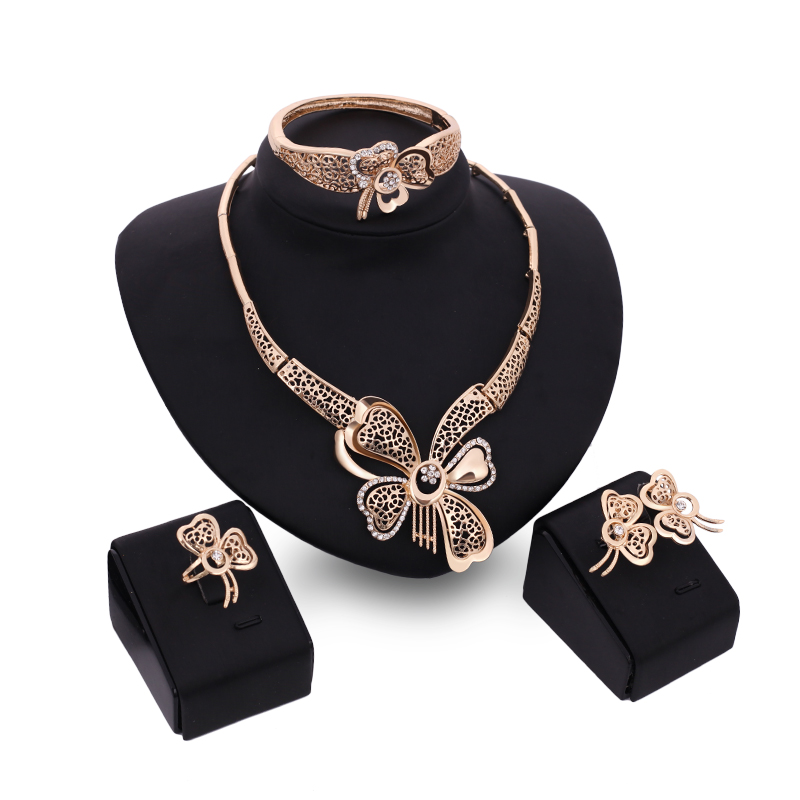 Fashion Charm Women Jewellery Set Dubai Gold Color Rhinestone