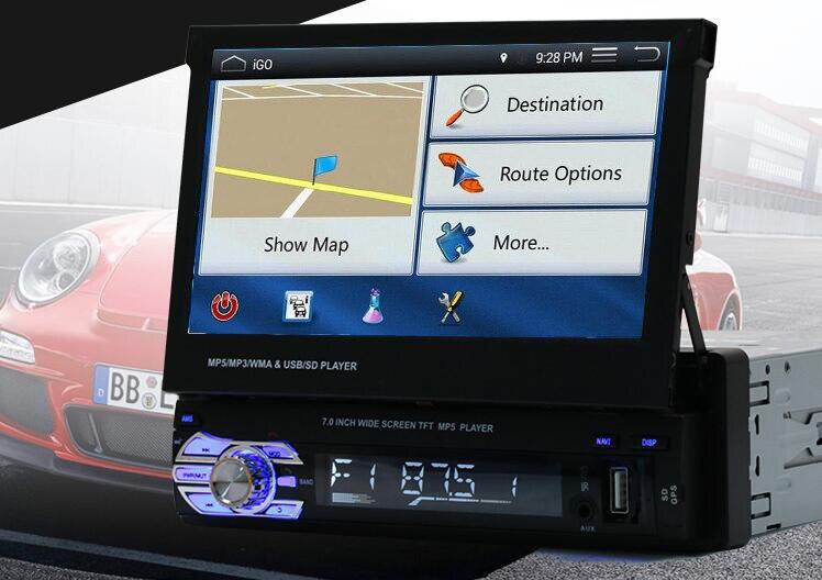 imágenes para Nuevo GPS Radio de Coche bluetooth MP3 FM/USB/1 Din/control remoto/puerto USB 12 V Car Audio bluetooth 1 din auto radio aux blueooth en