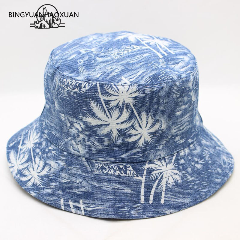 BING YUAN HAO XUAN New Fashion Unisex Summer Coconut Tree Printed Fisherman Hats Fishing Cap Fisherman Men Women