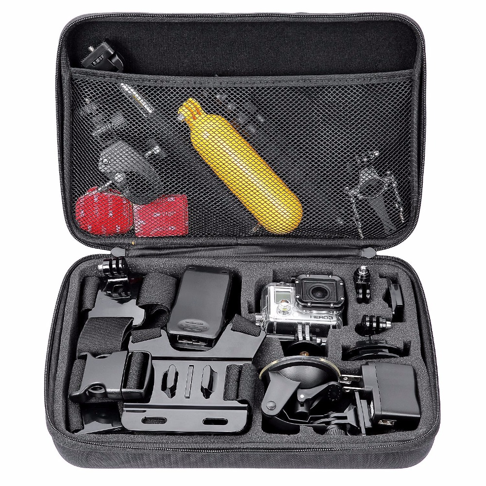Galleria fotografica Action Camera Accessories S M L Size Bag for Gopro Hero 6 5 Xiaomi Yi 4K Portable Case Camera Box for Gopro EKEN H9 Sport Camera