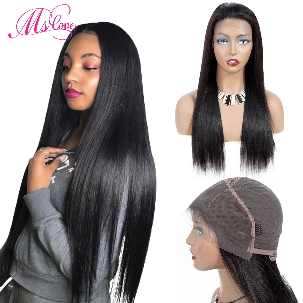Ms Love Straight Lace Front Human Hair Wigs 13x4 Lace Frontal Human Hair Wigs For Women Pre Plucked Brazilian Wig Non Remy(China)