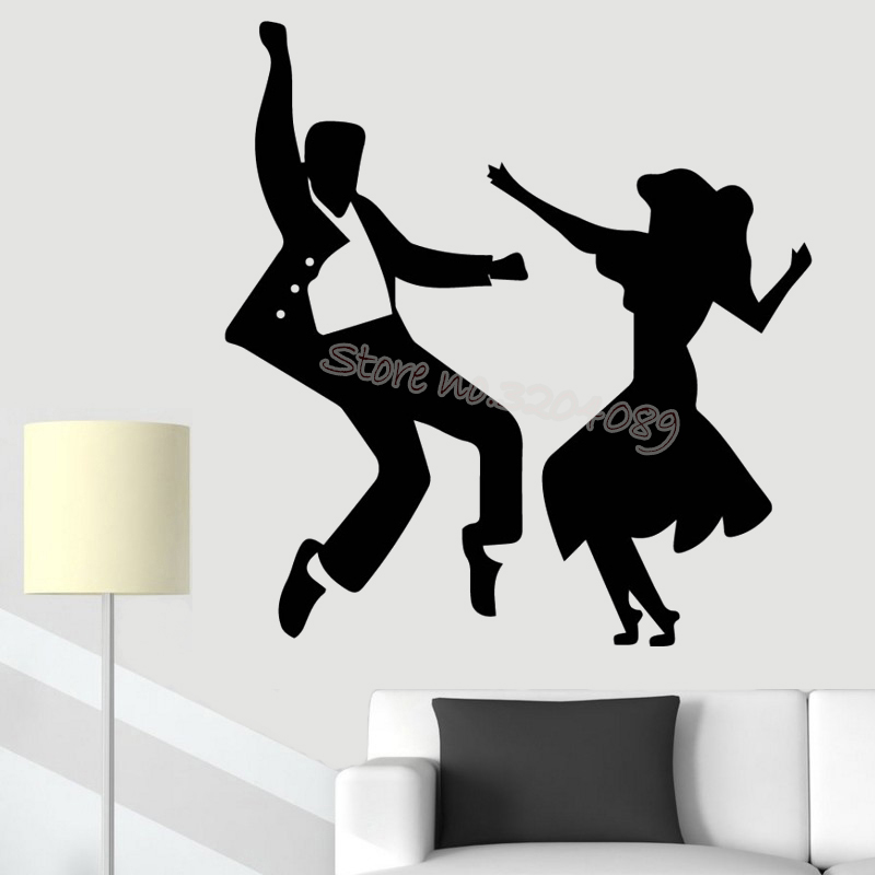 Jive Dance Couple Wall Sticker Latin Dancers Dancing Silhouette Wall Decal Home Livingroom Fashion Decor Poster Art Mural Eb261 Wall Stickers Aliexpress