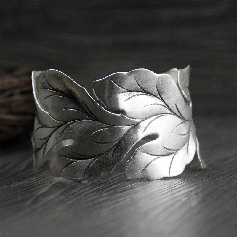 C&R Real 999 Sterling Silver bangle bracelet for women Wide leaf leaves bangles Vintage open Thai Silver bracelets Fine Jewelry monochrome