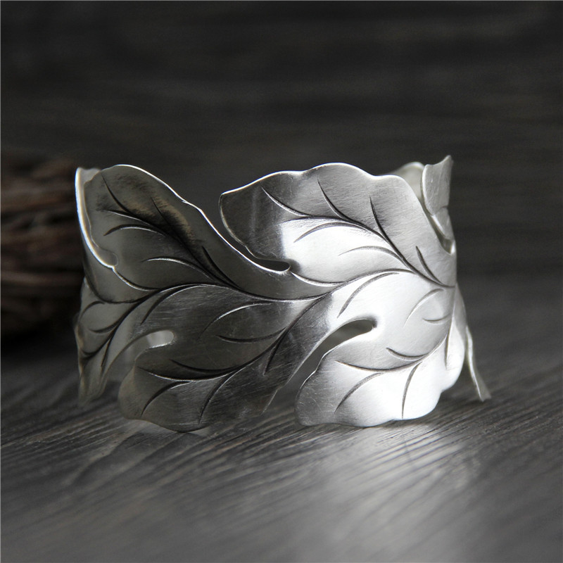 C&R Real 999 Sterling Silver bangle bracelet for women Wide leaf leaves bangles Vintage open Thai Silver bracelets Fine Jewelry купить недорого в Москве