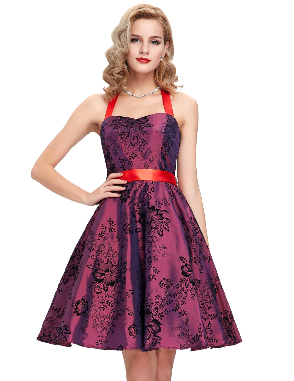 robe vintage dresses 40s 50s 60s rockabilly dress 2016 summer style halter printed housewife. Black Bedroom Furniture Sets. Home Design Ideas