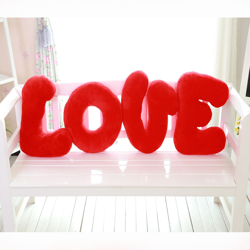 new hot sale europe love letters plush toys wedding press hold pillow decoration sweet happy character
