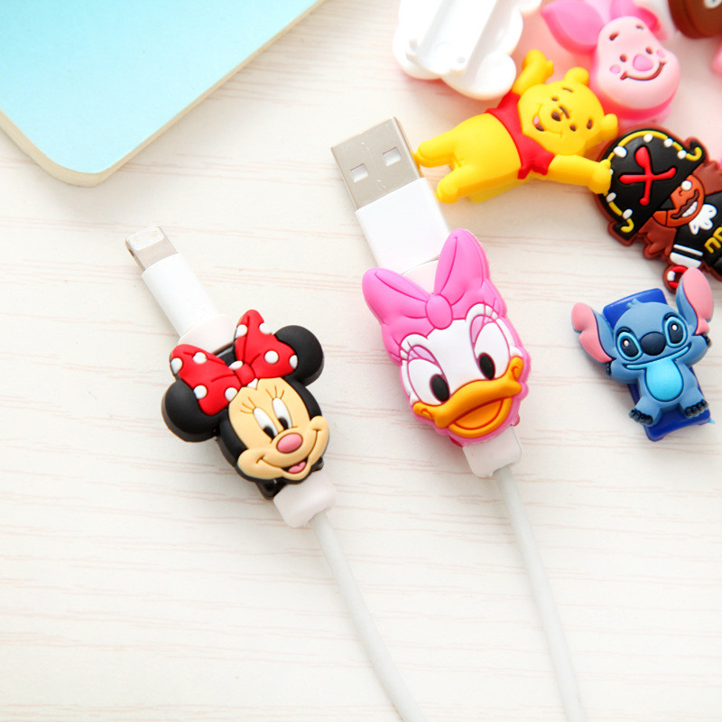 Cartoon Fashion New USB Cable Earphones Protector Colorful Coque For Iphone XS Max XR X 8 4 4S 5 5S 5C SE 6 6S 7 7S Plus 10 Case