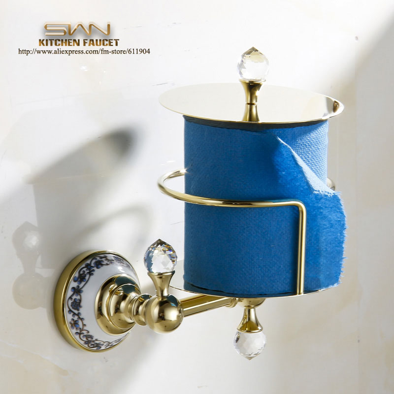 New Luxury Gold Color Modern Bathroom Toliet Tissue Paper Box Towel Roll Holder Copper Crystal Chinese Style 3371803 gold color bathroom toliet tissue paper towel roll holder chinese luxury style 3371901
