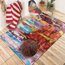 Vintage moroccan Watercolor multicolor mat home bedroom bedside entrance elevator floor mat sofa coffee table anti slip carpet