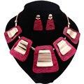 Mulheres Belas Africano Beads Banhado A Ouro Nupcial Red Gem Pingentes Colar Brincos Set Acessórios Do Casamento Conjuntos de Jóias