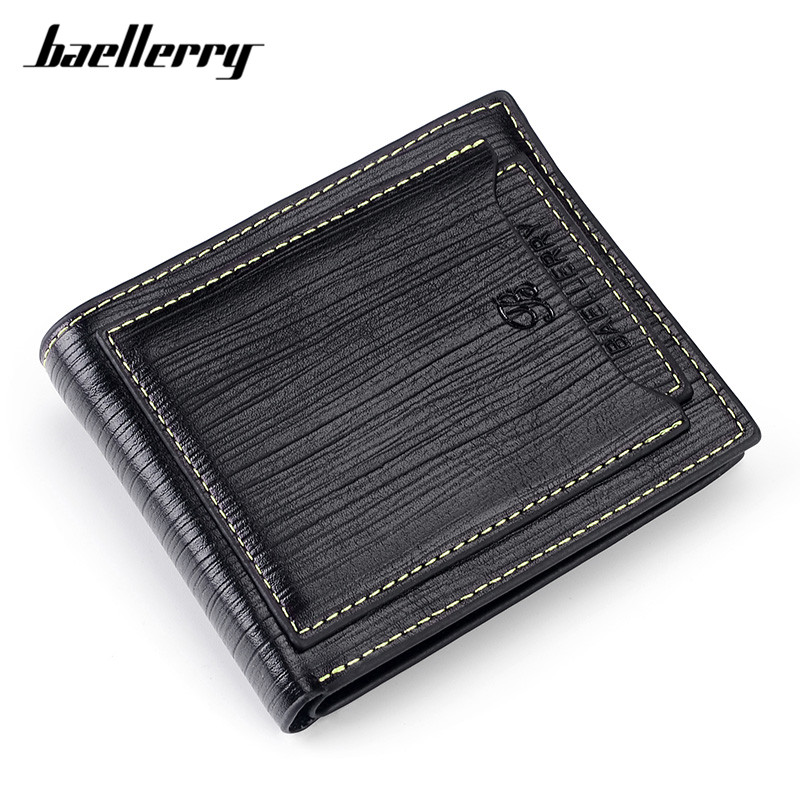 Baellerry Small Wallets For Men Classic Thread Leather Short Style Male Purse Wallet Card Holder Business Casual Mini Carteira baellerry small mens wallets vintage dull polish short dollar price male cards purse mini leather men wallet carteira masculina