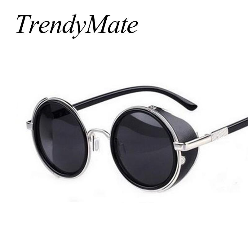 Steampunk Sunglasses Women Round Glasses Goggles Men Side Visor Circle Lens Unisex Vintage Retro Style Punk Oculos De Sol M027