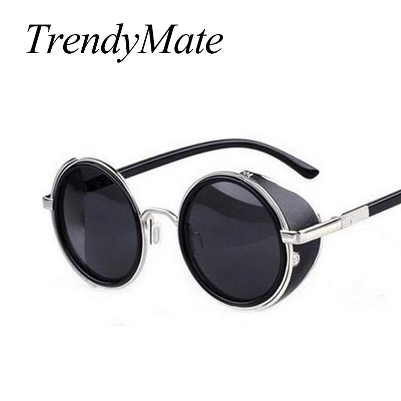 Steampunk Gafas de sol mujeres ronda Gafas gafas hombres lado visor círculo lente unisex vintage retro estilo punk oculos de sol m027