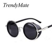 Steampunk Sonnenbrille Frauen Runde Brille Männer Seite Visier Kreis Objektiv Unisex Vintage Retro Stil Punk Oculos De Sol M027-in Sonnenbrillen aus Kleidungaccessoires bei