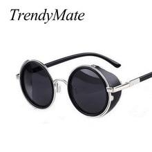 e3c9483feed65 Steampunk Sunglasses Women Round Glasses Goggles Men Side Visor Circle Lens  Unisex Vintage Retro Style Punk Oculos De Sol M027