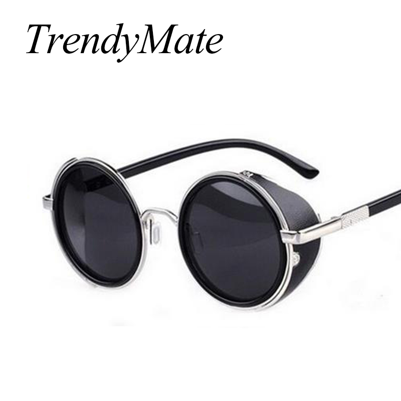 Steampunk Sunglasses Women Round Glasses Goggles Men Side Visor Circle Lens Unisex Vintage Retro Style Punk Oculos De Sol M027