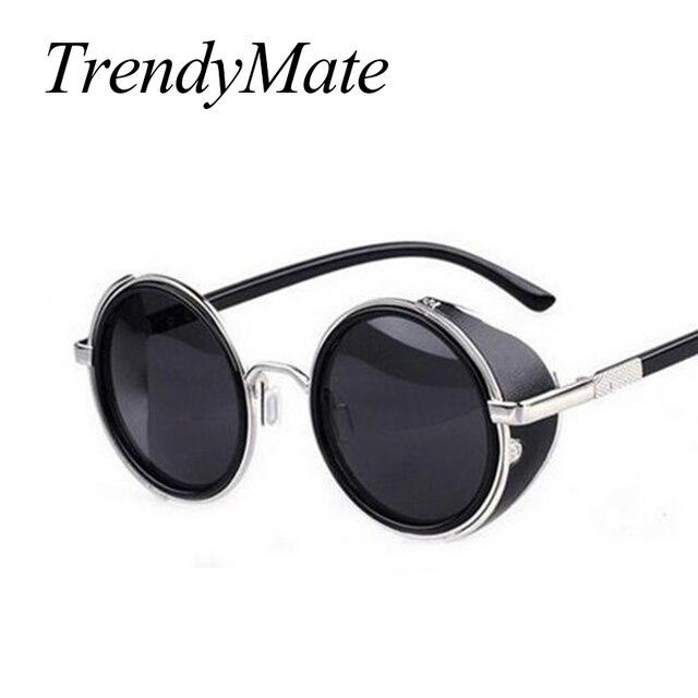 Steampunk Óculos De Sol Das Mulheres Óculos Redondos Óculos Homens Lado  Viseira Lente Círculo Unisex Estilo ba7b2d3d2a