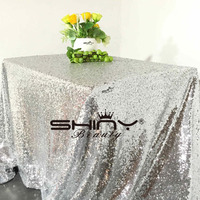 ShinyBeauty SILVER 60 inch by 102 inch SEQUIN TABLECLOTH, Silver Wedding Tablecloth,150cm x260cm Sparkly Tablecloth r