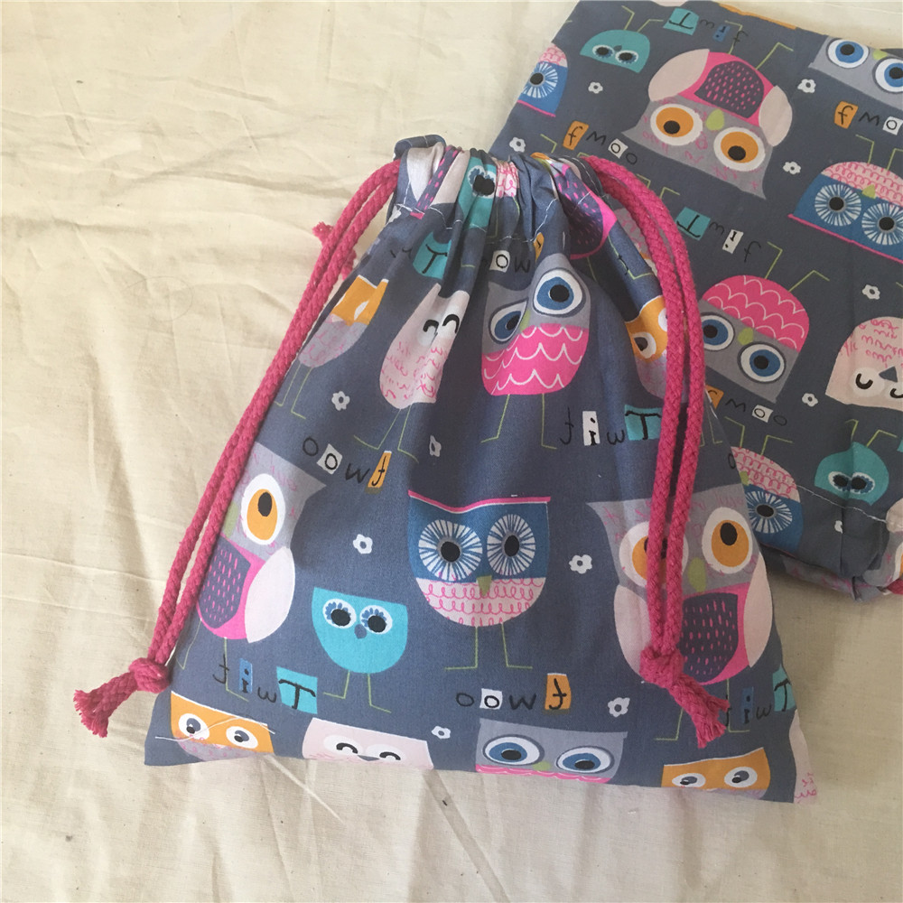 YILE Cotton Twill Fabric Handmade Cosmetic Pouch Drawstring Multi-purpose Bag Party Gift BagPrint Cup Owls Gray Base N630d