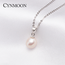 Simple and Trendy 8-9mm Fresh Water White Pearl Pendant Necklace for Mother Day Gift Fashion Women Silver Pearl Jewelry
