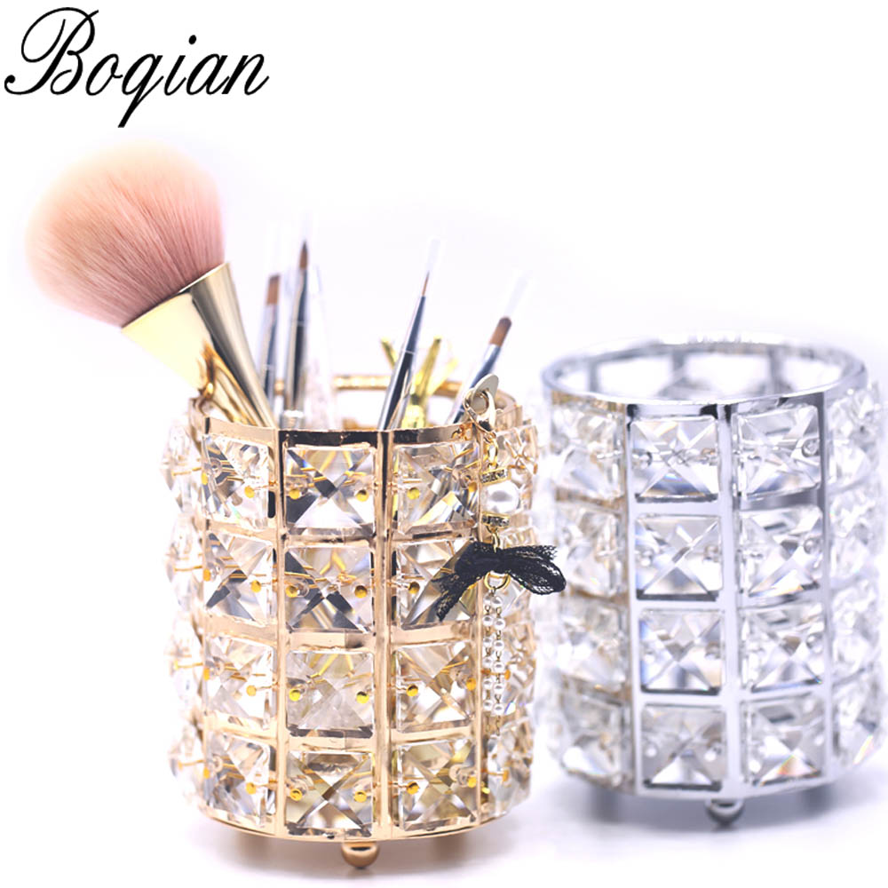 BQAN 1 Pc Diamond Nail Brush Holder Storage Case Bag Cosmetic Pen Organizer Shining Makeup Manicure Nail Art Tool Accessory