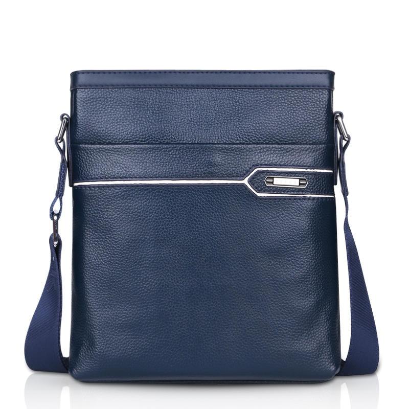 Casual 100% Real Cowskin Dark Blue Men's Shoulder Bag Genuine Cow Leather Male Messenger bags Brand Design Cross-body bags napapijri guji check dark blue