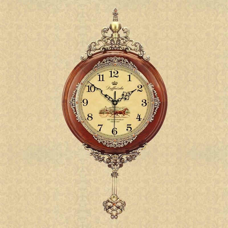 2018 Акция Saat Klok настенные часы Бесплатная доставка Aishida новый большой твердой древесины часы с маятником Европейский сад Американский кварц
