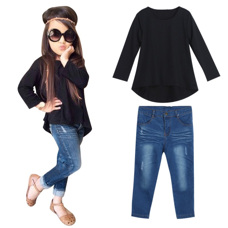 Toddler Kids Baby Girls Clothing Sets Autumn T-shirt Tops +Denim Jeans Pants Set Outfits Tracksuits sokotoo men s colored painted snake 3d print jeans fashion black slim stretch denim pants