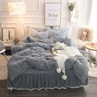 Gray Camel White Pink Purple Fleece Fabric Winter Thick Bedding Set Mink Velvet Duvet Quilt Cover Pillowcases 3pcs Bed lines