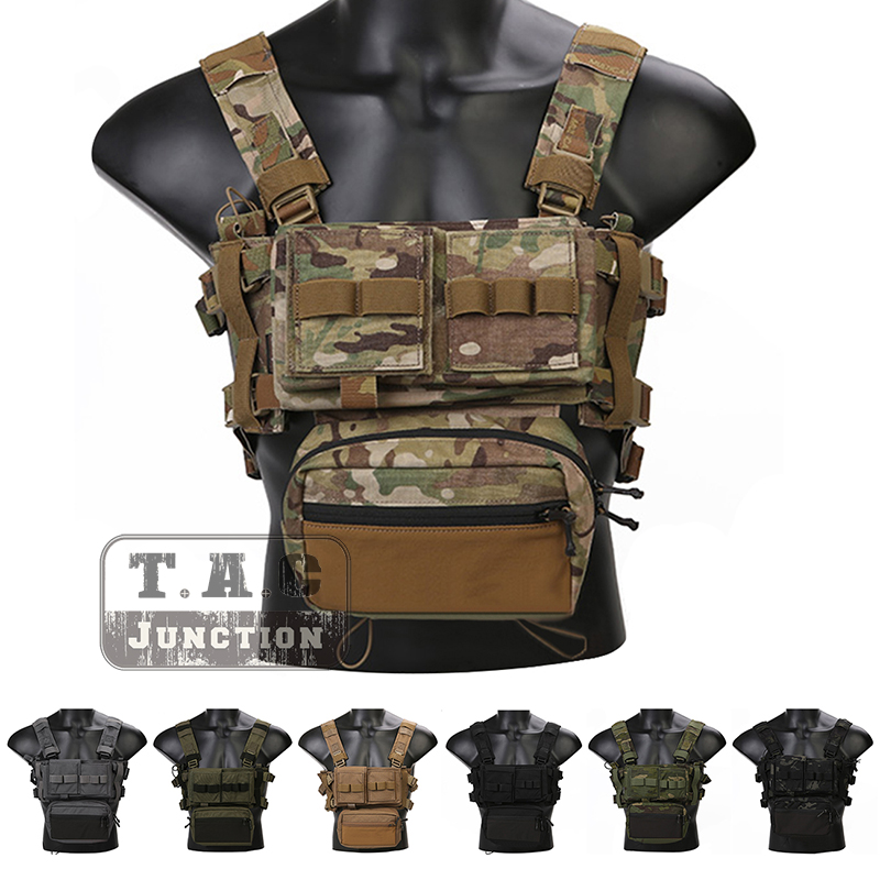 Emerson Tactical Vest Military MK3 Chest Rig Micro EmersonGear Fight Airsoft Hunting Combat w/ 5.56 Mag Pouch Plate Carrier