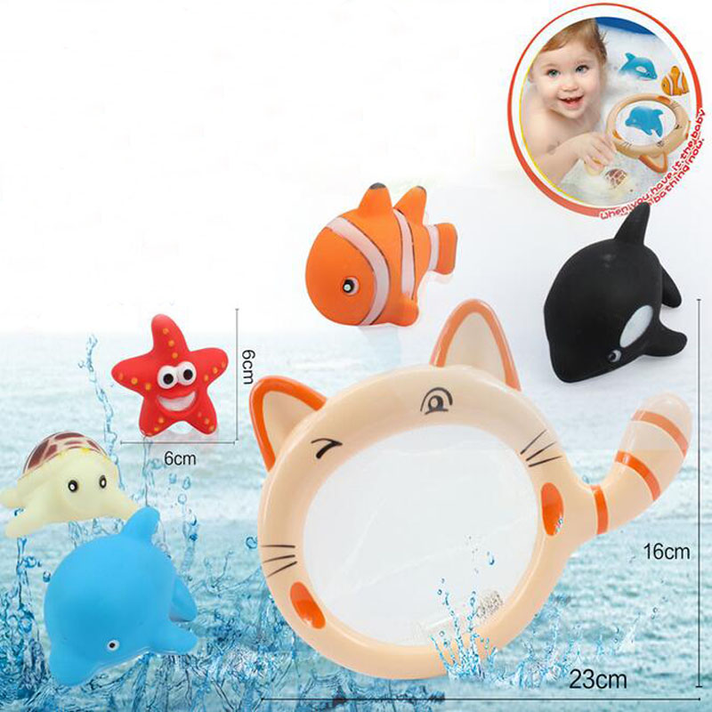 Kids Bath Toy Fancy Children S Toy Soft Rubber Bathroom Cat Fish Animal Playing Toy Set Squeezed
