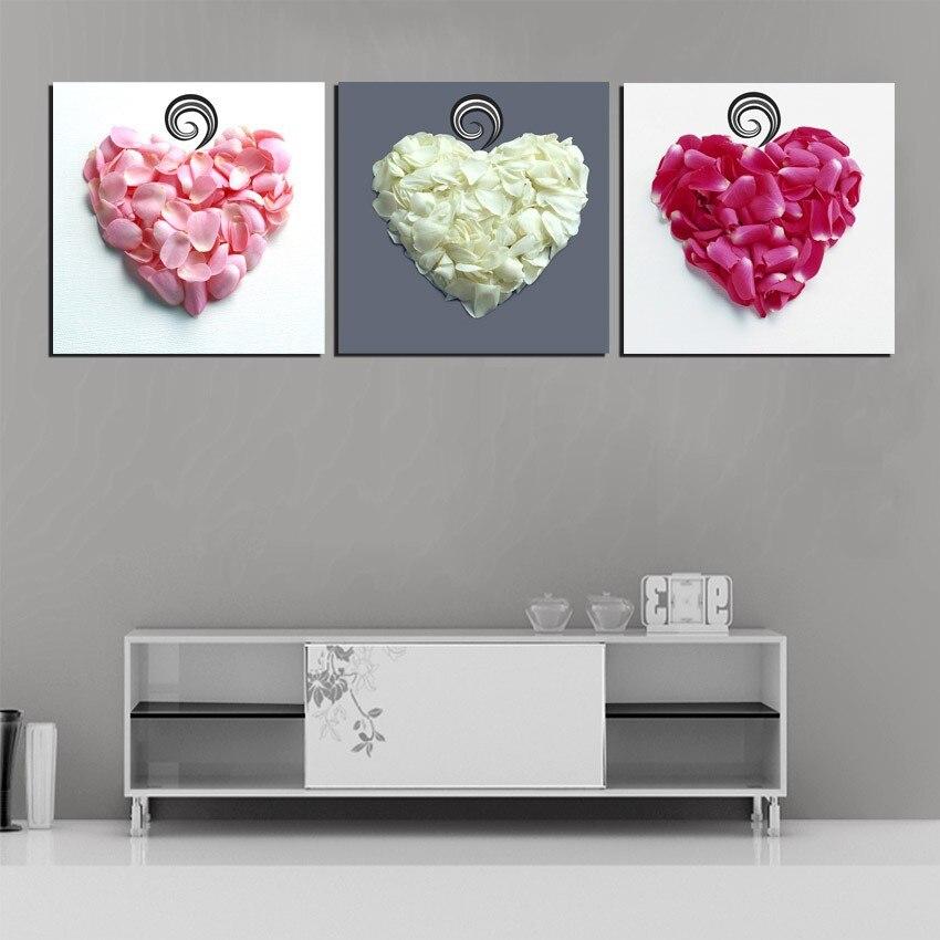 3 Panel Liefde Hart Bloemblaadjes Art Foto Canvas Slaapkamer Hoofd Van Bed Muur Decoratieve Canvas Schilderij No Frame Eenvoudig En Eenvoudig Te Hanteren