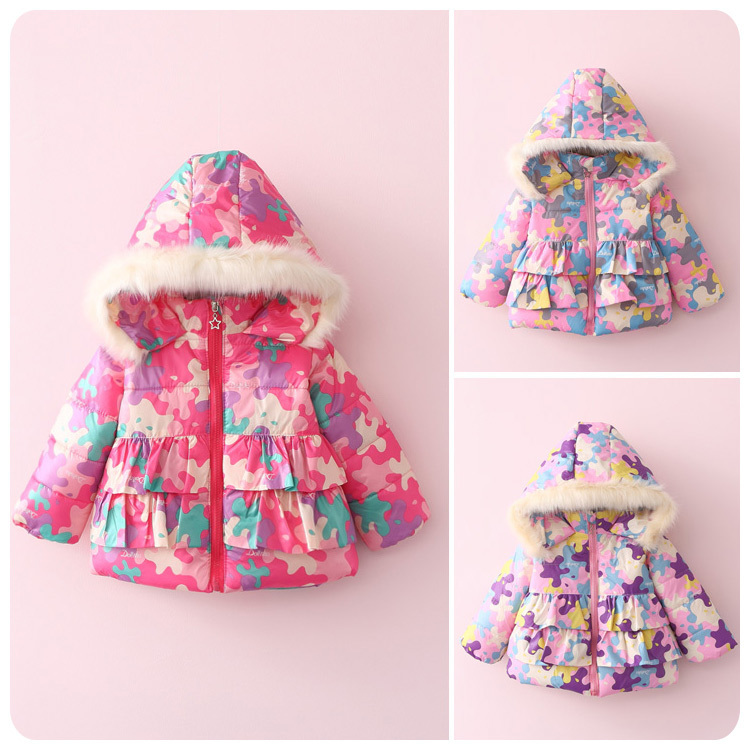 ФОТО 2016 Autumn Winter New Pattern Korean Children's Garment Baby Cotton-padded Loose Coat Girl Leaf  Cotton-padded Jacket