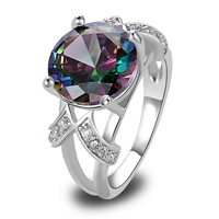 lingmei Free Ship Mystic Rainbow Topaz White Sapphire AAA Silver Ring Fashion Women Jewelry Size 6 7 8 9 10 11 12 13 Wholesale